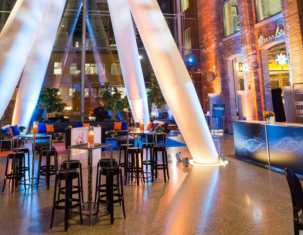 Event management of a corporate holiday party in a unique venue