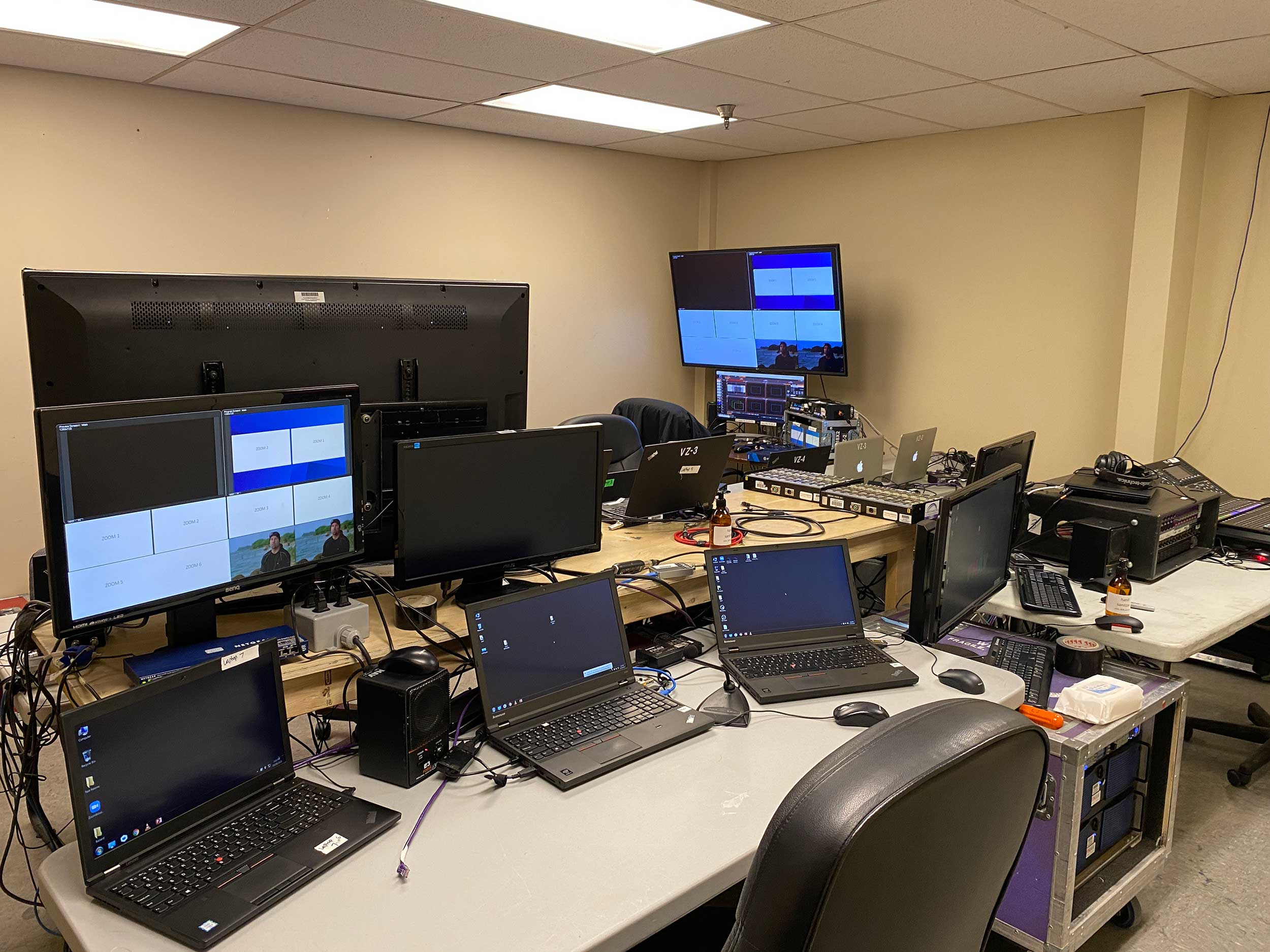 Control room for a virtual event