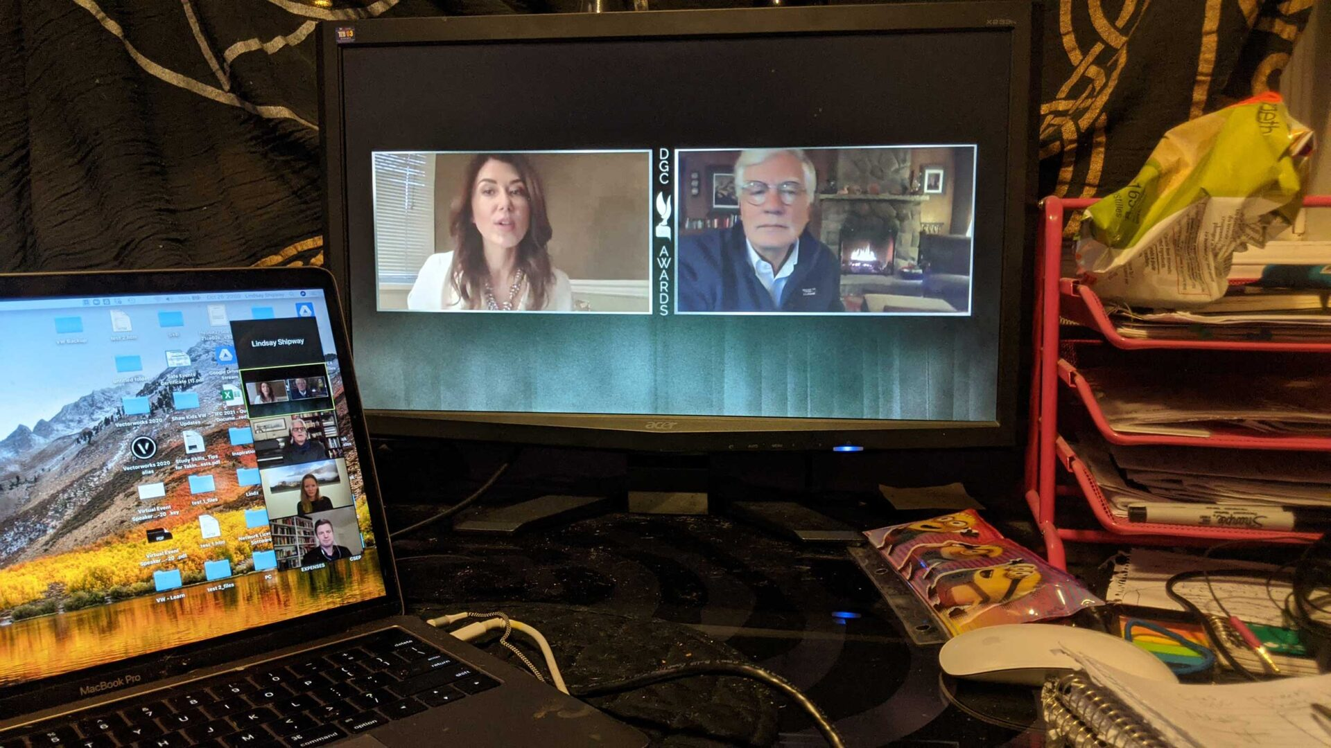 Virtual broadcast with two headshots